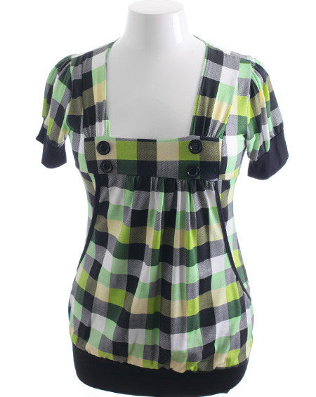 Plus Size Colorful Plaid Button Green Top
