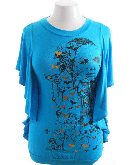 Plus Size Flutter Sleeve Graphic Diva Blue Top