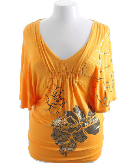 Plus Size Loose Sleeve Trendy Yellow Top