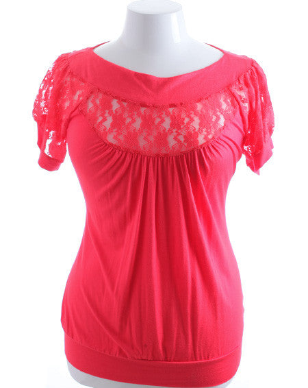 Plus Size See Through Lace Chest Pink Top