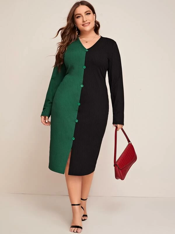 Plus Size Colorblock Button Front Ribbed Dress