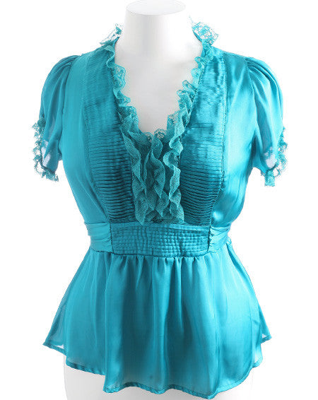 Plus Size Lace Ruffle Satin Blouse Teal Top