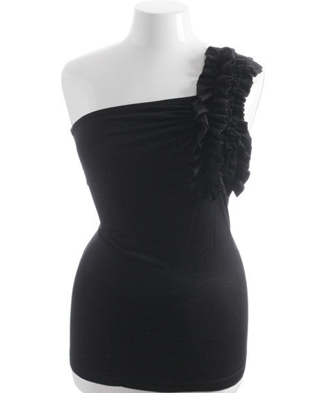 Plus Size One Shoulder Ruffle Black Top