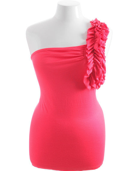 Plus Size One Shoulder Ruffle Pink Top