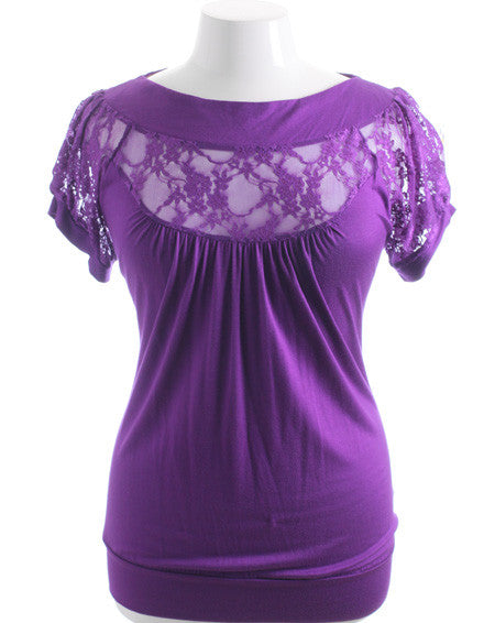 Plus Size Sexy See Through Lace Purple Top