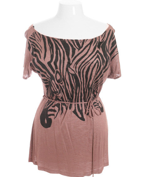 Plus Size Sexy Zebra Wide Collar Taupe Top