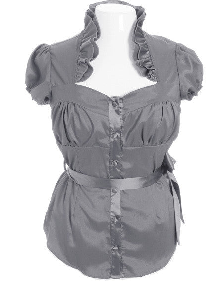Plus Size Gorgeous Ruffled Charcoal Blouse