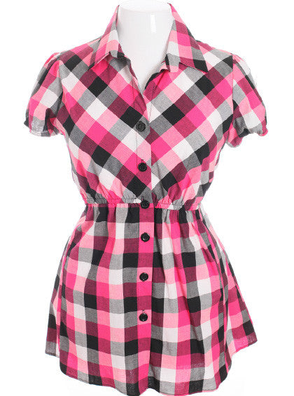 Plus Size Checker Long Button up Pink Top