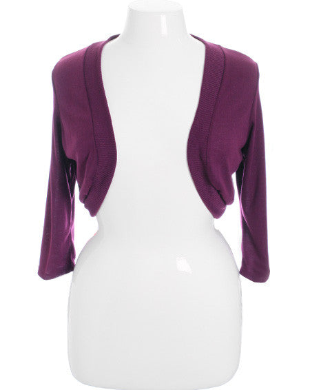 Plus Size Adorable Knit Shrug Purple Top