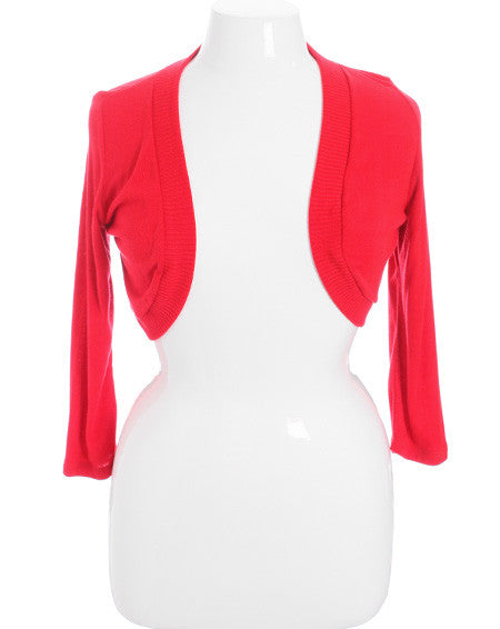 Plus Size Adorable Knit Shrug Red Top