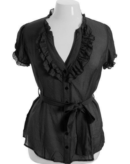 Plus Size Cotton Ruffle Black Blouse