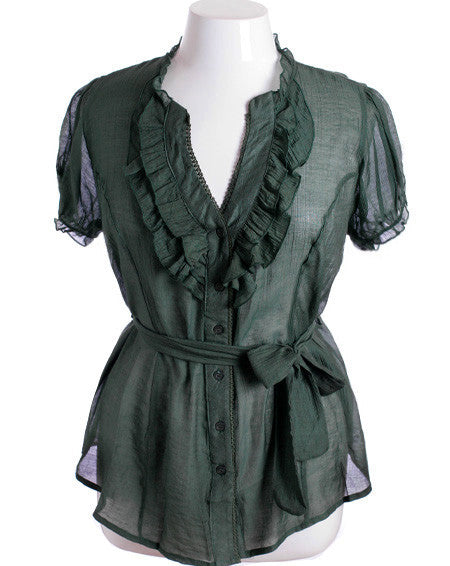 Plus Size Cotton Ruffle Green Blouse