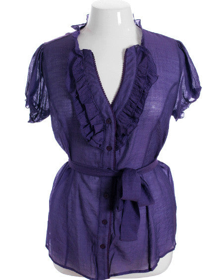 Plus Size Cotton Ruffle Purple Blouse