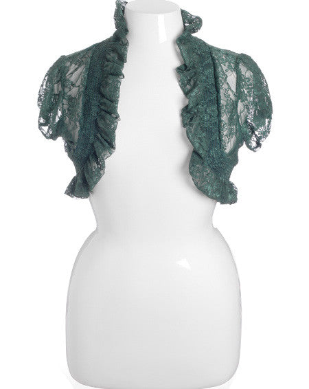 Plus Size Ruffled See Through Green Bolero