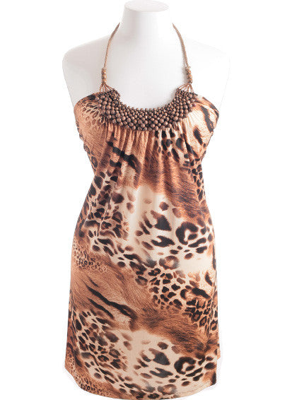 Plus Size Leopard Wooden Jewelry Tan Dress