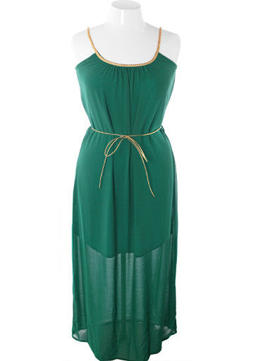 Plus Size Sexy Goddess Tiered Hem Green Dress