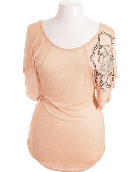 Plus Size Flutter Sleeve Beaded Peach Top