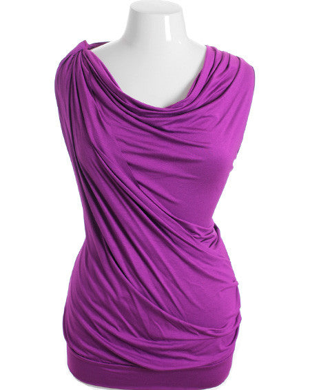 Plus Size Cowl Neck Sexy Purple Sleeveless Top
