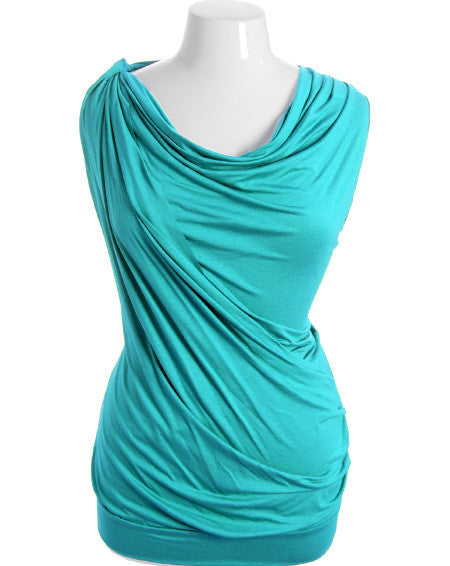 Plus Size Cowl Neck Sexy Teal Sleeveless Top