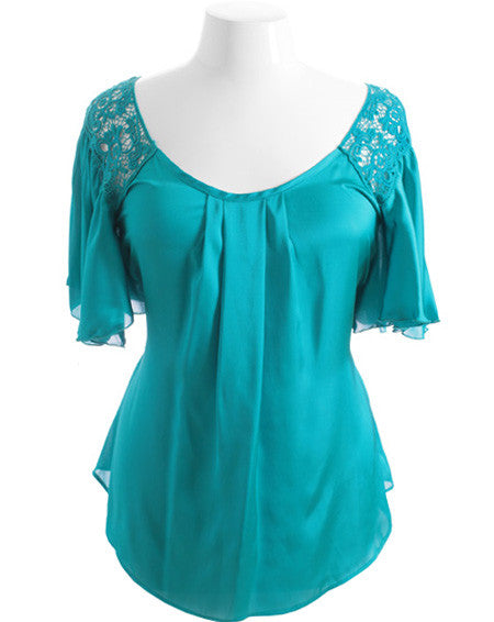 Plus Size Silky Satin Flutter Sleeve Teal Top