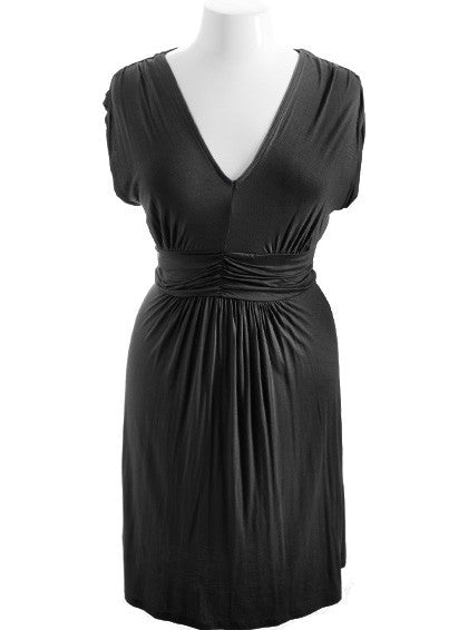 Plus Size Perfectly Pleated Black Dress