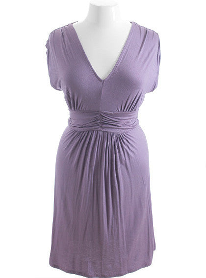 Plus Size Perfectly Pleated Lavender Dress