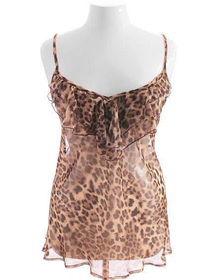 Plus Size Tiered Leopard Lace Tank Top
