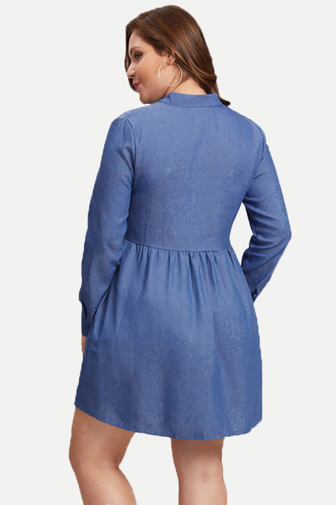 Plus Size Fashion Stand Collar Long Sleeve Dress