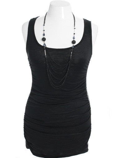 Plus Size Sexy Dazzled Necklace Black Tank Dress
