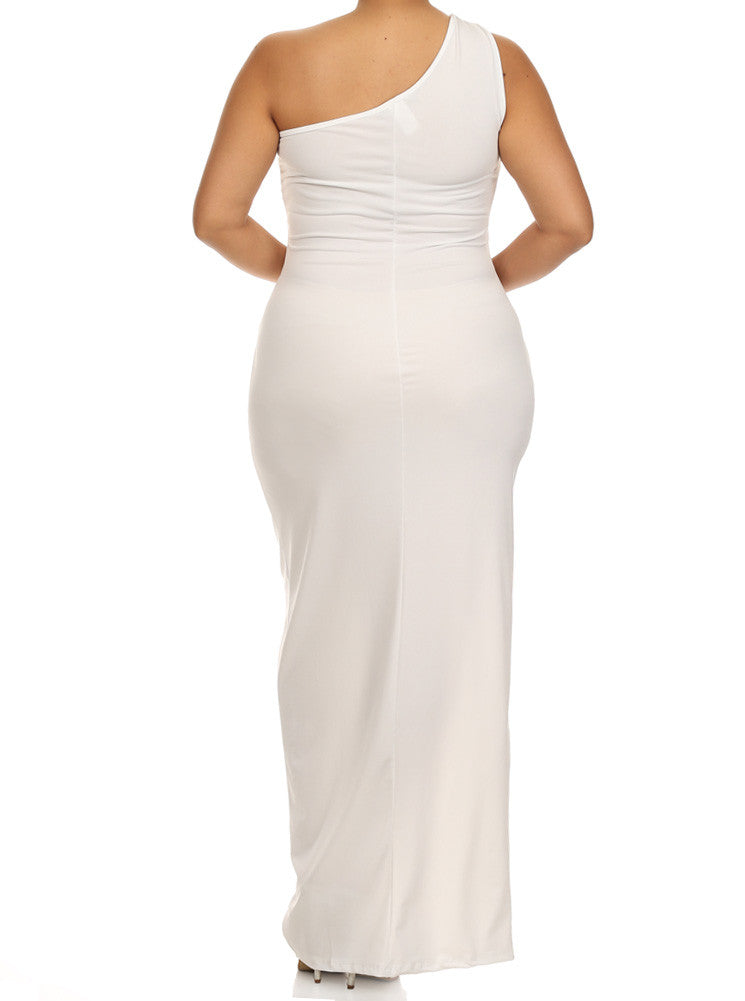 Plus Size Enticing One Shoulder Side Zipper White Maxi Dress