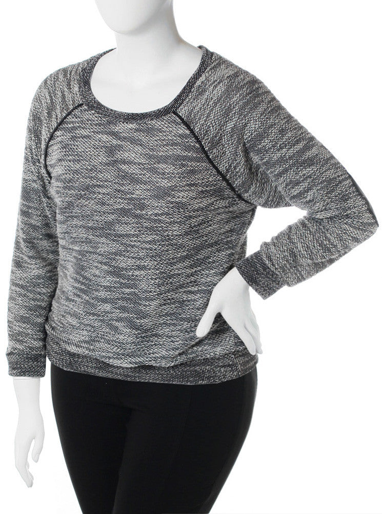Plus SIze Knit Leather Elbow Patch Top