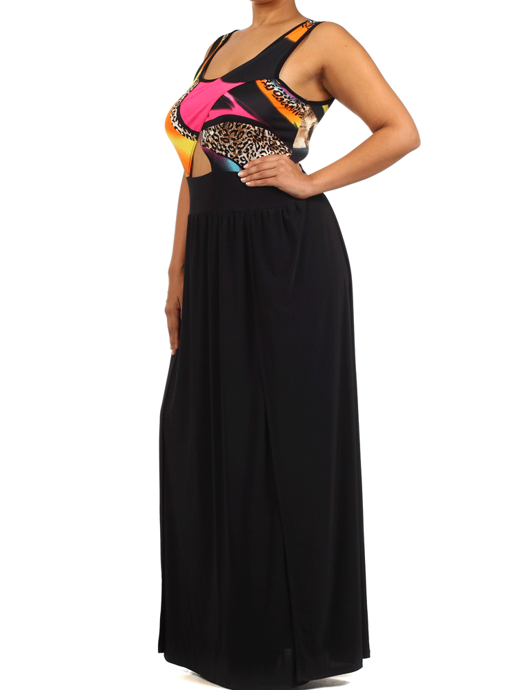 Plus Size Catwalk Hued Maxi Dress