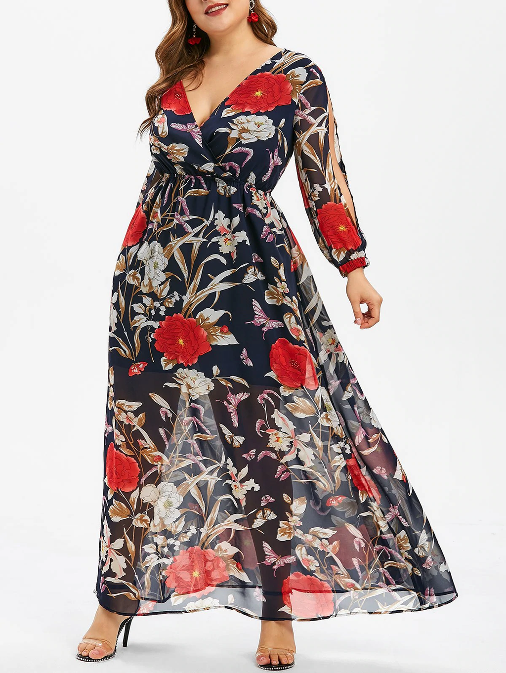 Floral Print Overlay Plus Size Maxi Dress