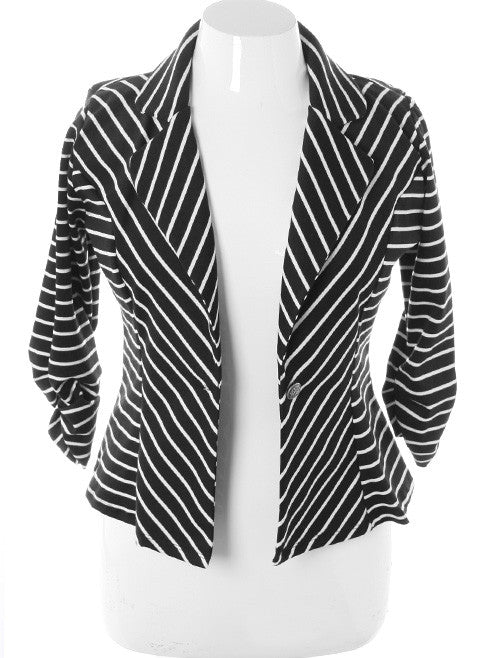 4d7b903950a05 Plus Size Striped Knit Black White Blazer – Plussizefix