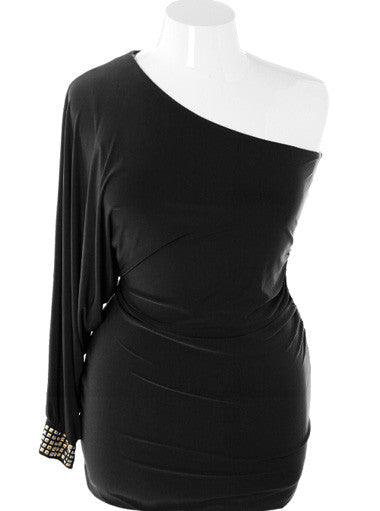 Plus Size Asymmetrical Bodycon Black Dress