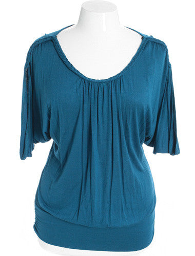 Plus Size Sexy Loose Braided Blue Top