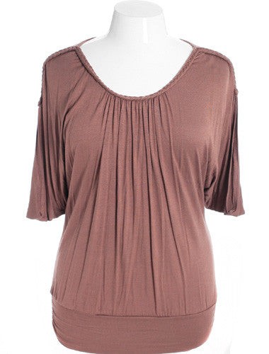 Plus Size Sexy Loose Braided Taupe Top