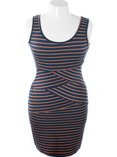 Plus Size Fabulous Navy Stripe Taupe Dress