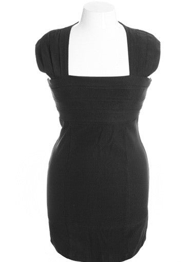 Plus Size Beautifully Pleated Black Dress