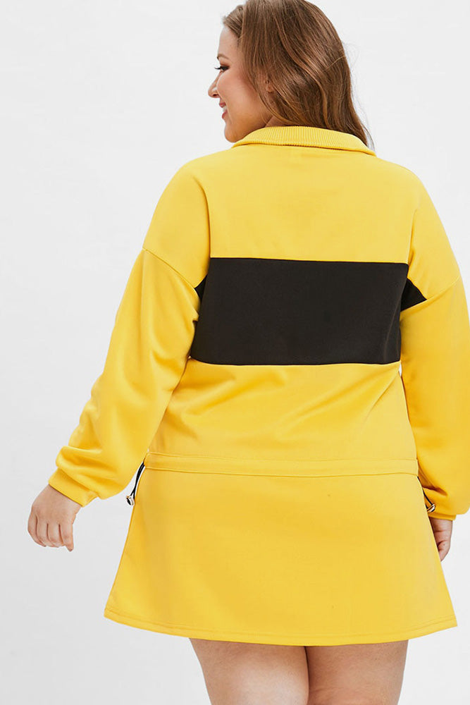 Plus Size Sporty Color Block Sweater Dress