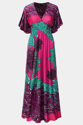 Plus Size Island Vibes Vibrant Flutter Sleeves Maxi Dress