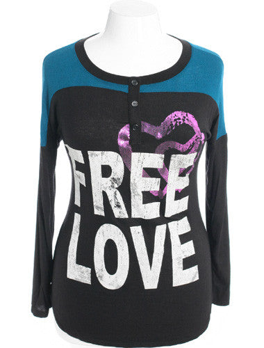 Plus Size Trendy Graphic Love Blue Top