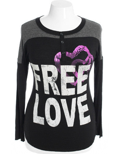 Plus Size Trendy Graphic Love Grey Top
