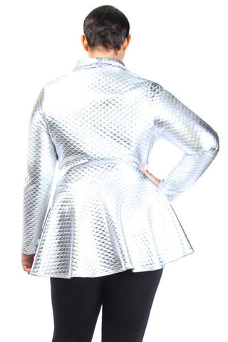 Plus Size Downtown Girl Peplum Zip Up Jacket