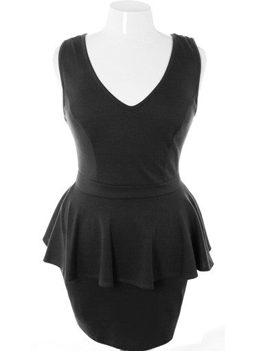 Plus Size Sexy Summer Flowing Black Dress