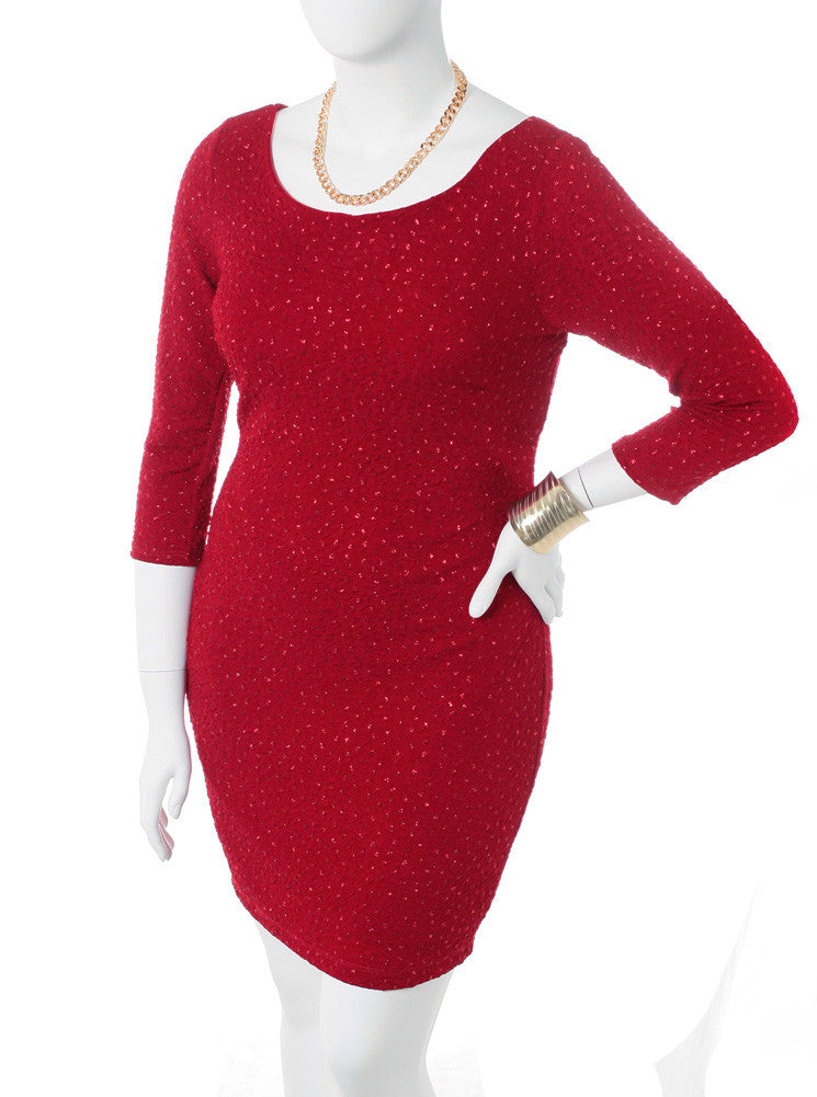 Plus Size Sparkling Shimmer Red Dress