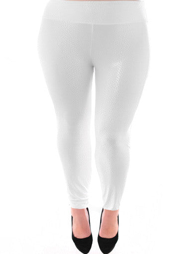 Plus Size Snake Skin Stretchy White Leggings