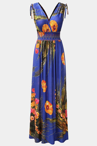 Plus Size Princess Cinched Empire Waist Floral Maxi Dress