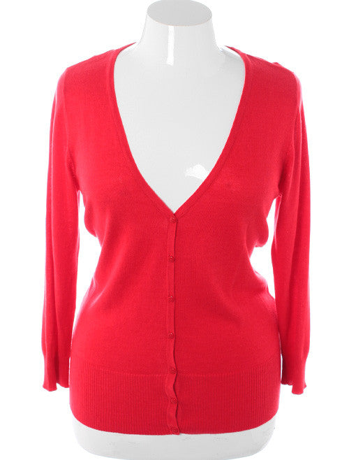 Plus Size Sexy Classic Button Down Red Cardigan