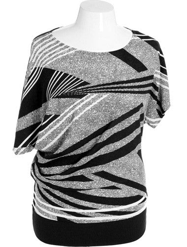 Plus Size Diva Striped Black Top